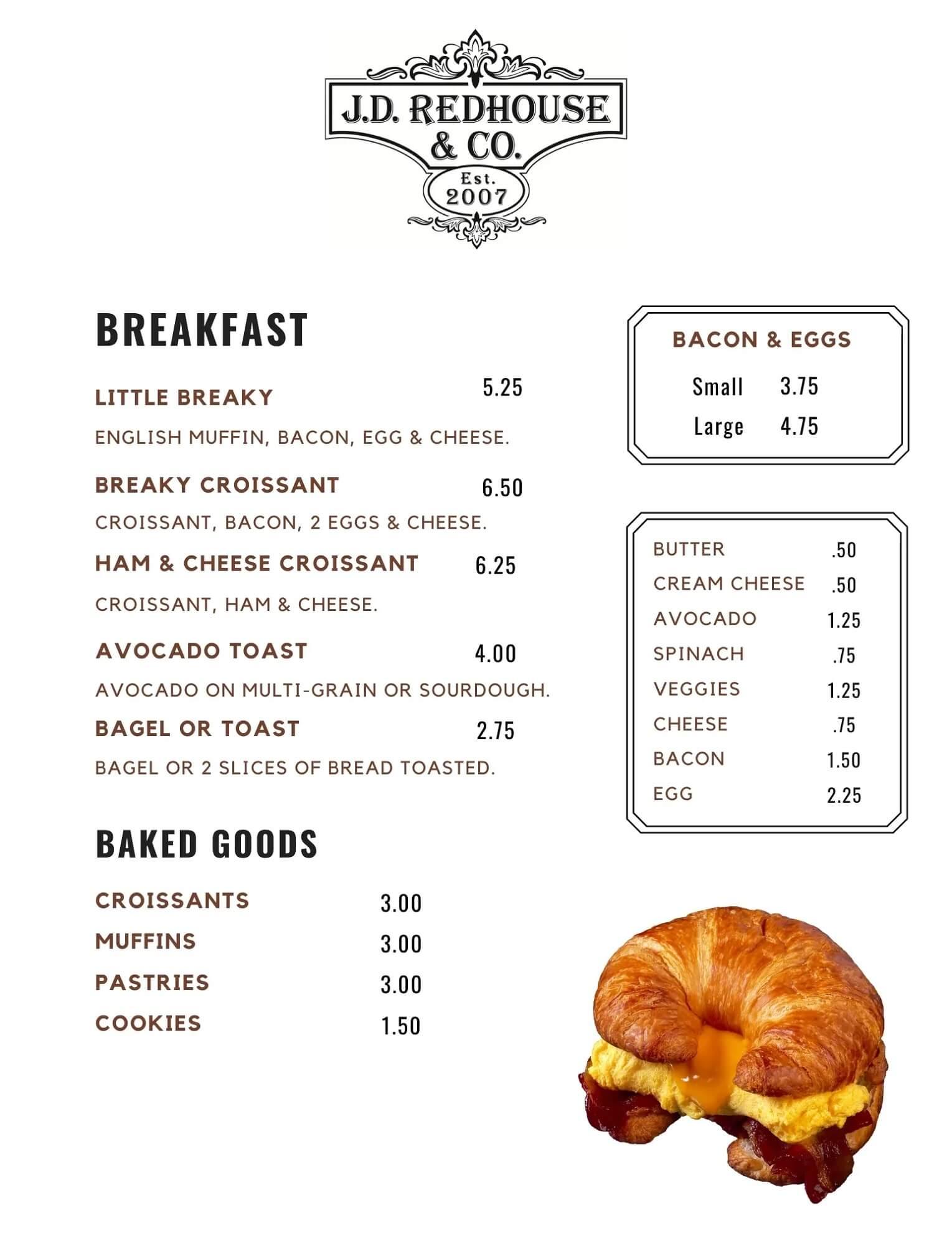 JD Redhouse Breakfast Menu - Willits California