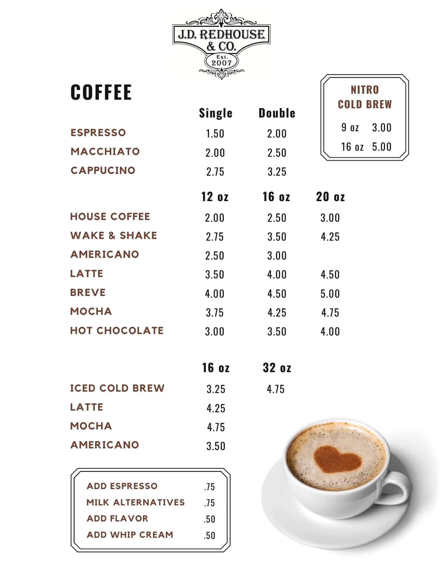 JD Redhouse Coffee Menu - Willits California