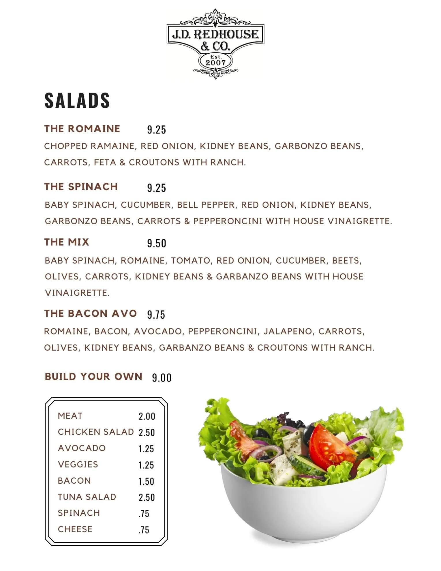JD Redhouse Salad Menu - Willits California