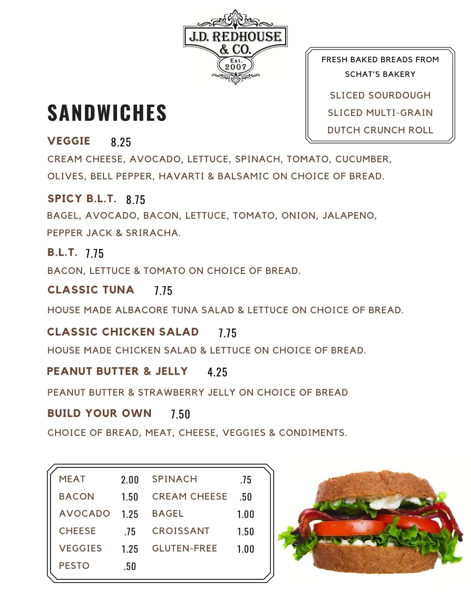JD Redhouse Sandwiches Menu - Willits California