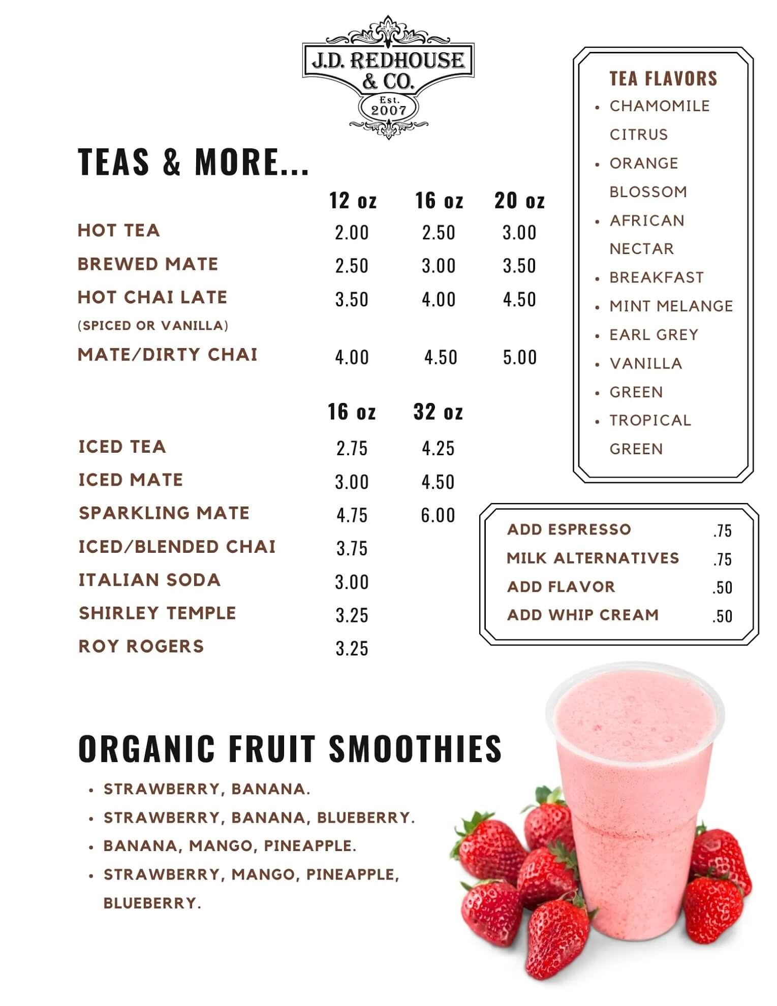 JD Redhouse Tea and Smoothie Menu - Willits California